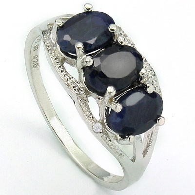 EXCLUSIVE 2.06 CT GENUINE SAPPHIRE & 2 PCS WHITE DIAMOND PLATINUM OVER 0.925 STERLING SILVER RING