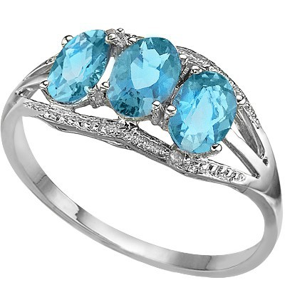 ENTICING TRIPLE SKY BLUE TOPAZ DOUBLE WHITE DIAMONDS 0.925 STERLING SILVER W/ PLATINUM RING