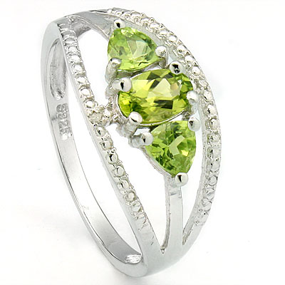 SPARKLING 0.97 CARAT PERIDOT & DOUBLE GENUINE DIAMONDS PLATINUM OVER 0.925 STERLING SILVER RING
