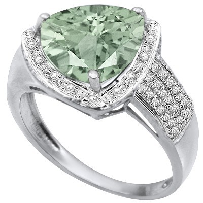 BREATHTAKING! LIGHT GREEN TEA AMETHYST DOUBLE WHITE DIAMOND 0.925 STERLING SILVER W/ PLATINUM RING