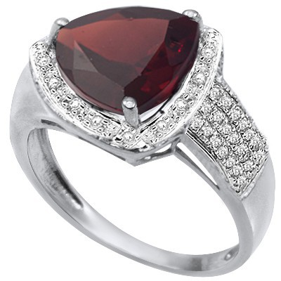 REFRESHING 3.44 CARAT GARNET DOUBLE WHITE DIAMOND 0.925 STERLING SILVER W/ PLATINUM RING