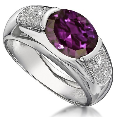 LOVELY! AMAZING 3.23 CTW CREATED BYZANTIUM ALEXANDRITE W/ 2 PCS GENUINE WHITE DIAMONDS IN 0.925 STERLING SILVER W/ PLATINUM RING