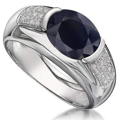 MAJESTIC GENUINE BLACK SAPPHIRE DOUBLE WHITE DIAMOND 0.925 STERLING SILVER W/ PLATINUM RING