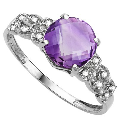 STUNNING FLORAL LAVENDER AMETHYST DOUBLE WHITE DIAMOND 0.925 STERLING SILVER W/ PLATINUM RING