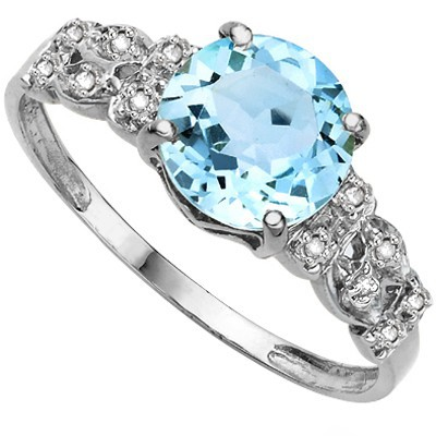 GRACEFUL 2.32 CT SKY BLUE TOPAZ DOUBLE WHITE DIAMOND 0.925 STERLING SILVER W/ PLATINUM RING