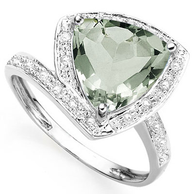 EXCELLENT 2.85 CT GREEN AMETHYST WITH DOUBLE GENUINE DIAMONDS PLATINUM OVER 0.925 STERLING SILVER RING