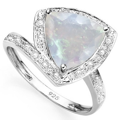 CHARMING 2.76 CT MAGICAL MOONLIGHT LAB OPAL DOUBLE WHITE DIAMOND 0.925 STERLING SILVER W/ PLATINUM RING