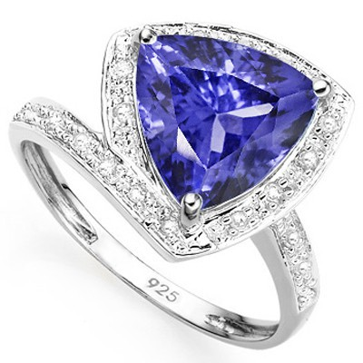 GRACEFUL 2.76 CT LAB TANZANITE DOUBLE WHITE DIAMOND 0.925 STERLING SILVER W/ PLATINUM RING