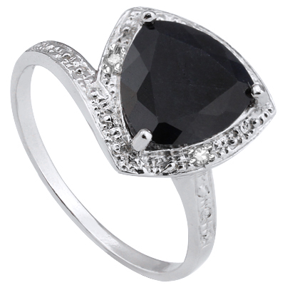 HUGE 3.11 CT GENUINE BLACK SAPPHIRE DOUBLE GENUINE DIAMOND 0.925 STERLING SILVER W/ PLATINUM RING
