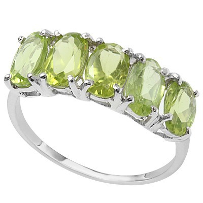 ROMANTIC MULTIPLE GREEN PERIDOT 0.925 STERLING SILVER W PLATINUM RING