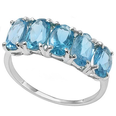 ENTICING 2.70 CT SKY BLUE TOPAZ 0.925 STERLING SILVER W/ PLATINUM RING