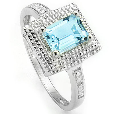 AMAZING 1.27 CARAT BLUE TOPAZ & DOUBLE GENUINE DIAMONDS PLATINUM OVER 0.925 STERLING SILVER RING