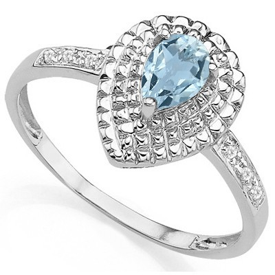 EXQUISITE! CLEAR WATER BLUE AQUAMARINE DOUBLE WHITE DIAMOND 0.925 STERLING SILVER W/ PLATINUM RING