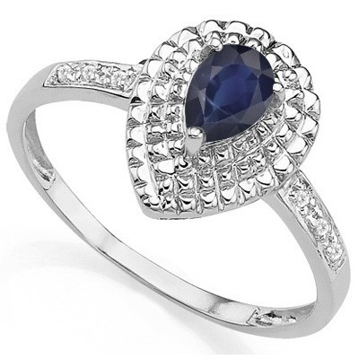 EXCLUSIVE MIDNIGHT BLUE BLACK SAPPHIRE DOUBLE WHITE DIAMONDS 0.925 STERLING SILVER W/ PLATINUM RING