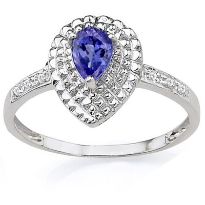 ELEGANT! GENUINE TANZANITE & DOUBLE DIAMONDS 0.925 STERLING SILVER W/ PLATINUM RING