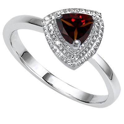 SPLENDID PERSIAN RED GARNET DOUBLE WHITE DIAMOND 0.925 STERLING SILVER W/ PLATINUM RING