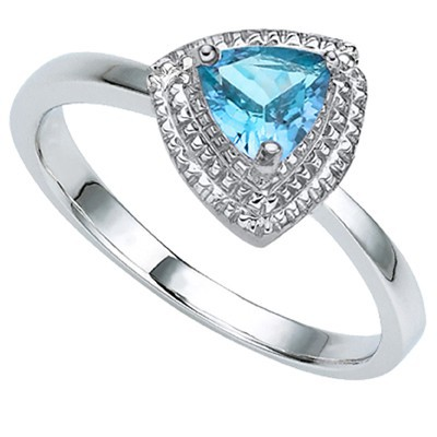 DELICATE SKY BLUE TOPAZ DOUBLE WHITE DIAMOND 0.925 STERLING SILVER W/ PLATINUM RING