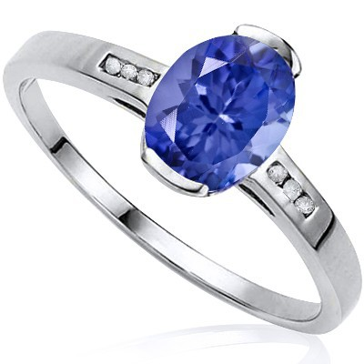 SPARKLING EGYPTIAN BLUE GENUINE TANZANITE & DOUBLE DIAMOND 0.925 STERLING SILVER W/ PLATINUM RING