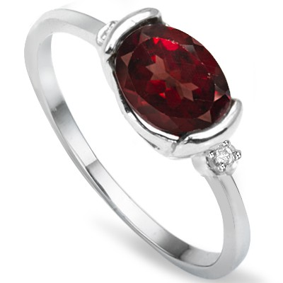 ELEGANT PERSIAN RED GARNET & WHITE DIAMOND 0.925 STERLING SILVER W/ PLATINUM RING