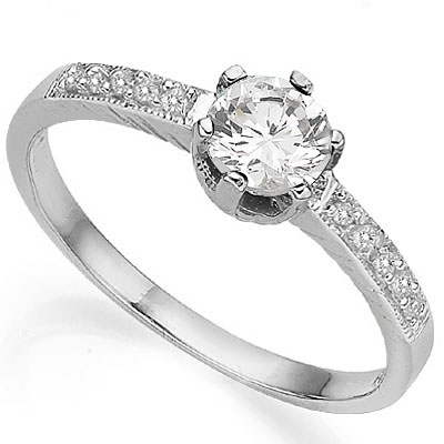 CAPTIVATING 0.61 CARAT TW WHITE TOPAZ WITH DOUBLE GENUINE DIAMONDS PLATINUM OVER 0.925 STERLING SILVER RING