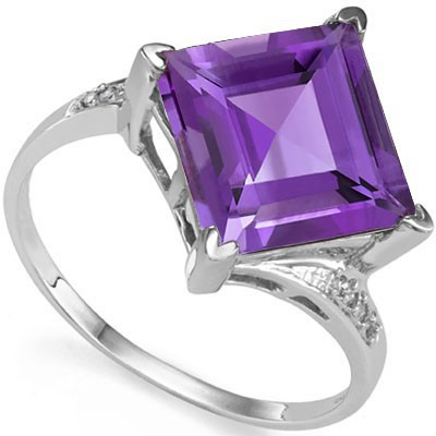 PERFECT 4.65 CT AMETHYST WITH DOUBLE GENUINE DIAMONDS 0.925 STERLING SILVER W/ PLATINUM RING