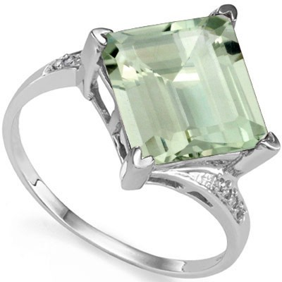 CLASSY 4.65 CT GREEN AMETHYST & DOUBLE WHITE DIAMOND 0.925 STERLING SILVER W/ PLATINUM RING