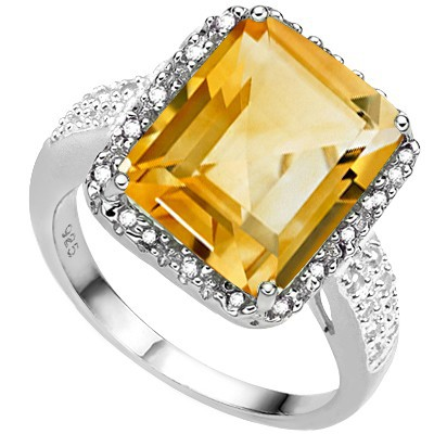 BRILLIANT 5.75 CT CITRINE & DOUBLE WHITE DIAMOND 0.925 STERLING SILVER W/ PLATINUM RING