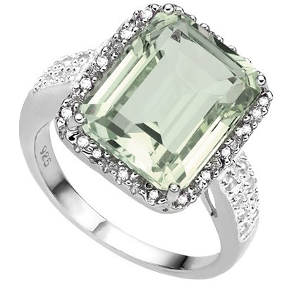 ENORMOUS & FRESH! 6.04 CT GREEN AMETHYST DOUBLE WHITE DIAMOND 0.925 STERLING SILVER W/ PLATINUM RING