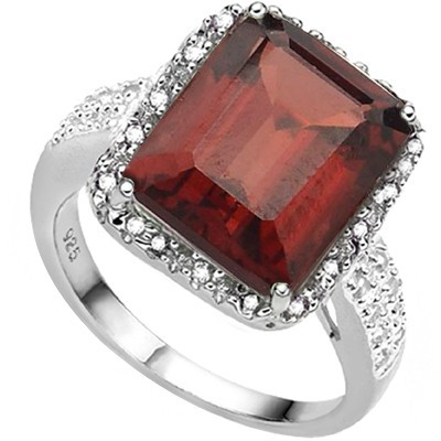 MASSIVE 7 CT GARNET & DOUBLE WHITE DIAMOND 0.925 STERLING SILVER W/ PLATINUM RING