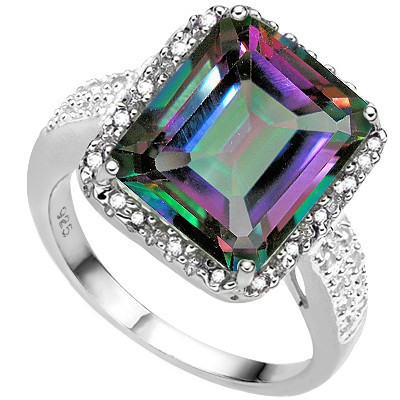 BEAUTIFUL 5.48 CT MYSTIC TOPAZ DOUBLE WHITE DIAMOND 0.925 STERLING SILVER W/ PLATINUM RING