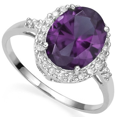 ENORMOUS 3.25 CT LAB ALEXANDRITE GENUINE WHITE DIAMOND 0.925 STERLING SILVER W/ PLATINUM RING