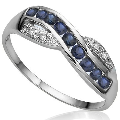 CLASSIC 9 PCS MIDNIGHT BLUE SAPPHIRE DOUBLE WHITE DIAMONDS 0.925 STERLING SILVER W/ PLATINUM RING