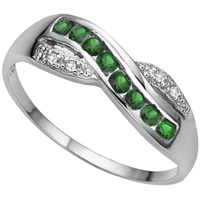 SPLENDID 8 PCS GENUINE GREEN EMERALD, DOUBLE WHITE DIAMOND 0.925 STERLING SILVER W/ PLATINUM RING