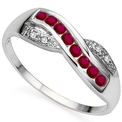 SHIMMERING 8 PCS GENUINE RED RUBY, DOUBLE WHITE DIAMOND 0.925 STERLING SILVER W/ PLATINUM RING