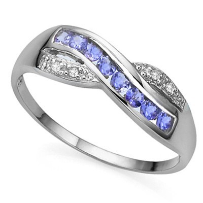 HANDSOME GENUINE TANZANITE DOUBLE WHITE DIAMOND 0.925 STERLING SILVER W/ PLATINUM RING