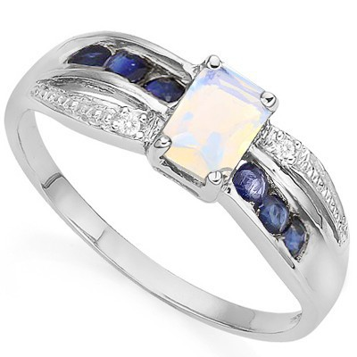 EXCELLENT CREATED FIRE OPAL WITH 6 PCS GENUINE SAPPHIRE 0.925 STERLING SILVER W/ PLATINUM RING
