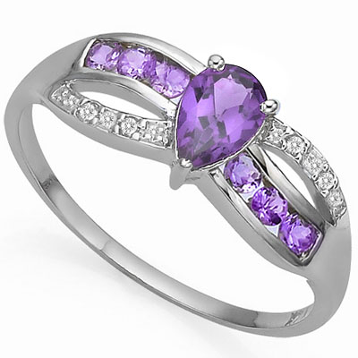 CLASSY 0.55 CARAT AMETHYST & DOUBLE GENUINE DIAMONDS PLATINUM OVER 0.925 STERLING SILVER RING