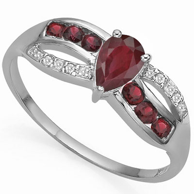 SMASHING GENUINE RUBY & GARNET WITH DOUBLE GENUINE DIAMONDS PLATINUM OVER 0.925 STERLING SILVER RING