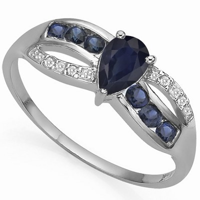 WONDERFUL GENUINE BLACK SAPPHIRE & 6 PCS BLACK SAPPHIRE 0.925 STERLING SILVER W/ PLATINUM RING
