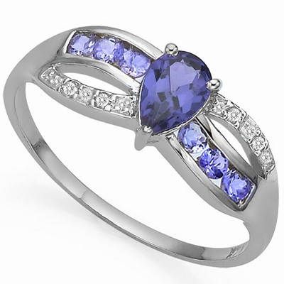 FASCINATING GENUINE TANZANITE WITH DOUBLE GENUINE DIAMOND 0.925 STERLING SILVER W/ PLATINUM RING