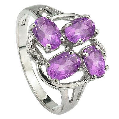 LOVELY 1.90 CT AMETHYST WITH DOUBLE GENUINE DIAMONDS 0.925 STERLING SILVER W/ PLATINUM RING