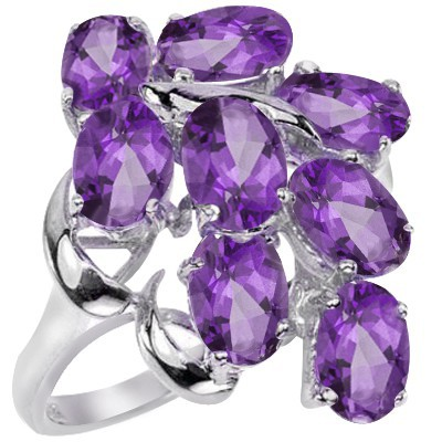 FASCINATING 3.64 CT FLORAL LAVENDER AMETHYST 0.925 STERLING SILVER W/ PLATINUM RING