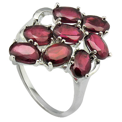 BEAUTIFUL 5.39 CT GARNET 0.925 STERLING SILVER W/ PLATINUM RING