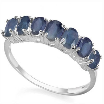 ELEGANT 7 PCS MIDNIGHT BLUE GENUINE SAPPHIRE 0.925 STERLING SILVER W/ PLATINUM RING
