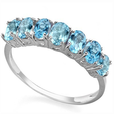 MEGNIFICENT 7 PCS SKY BLUE TOPAZ 0.925 STERLING SILVER W/ PLATINUM RING