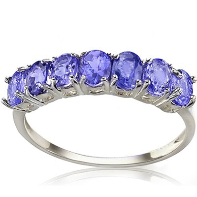 AMAZING (SI) 7 PCS GENUINE DEEP TANZANITE 0.925 WHITE SILVER RING