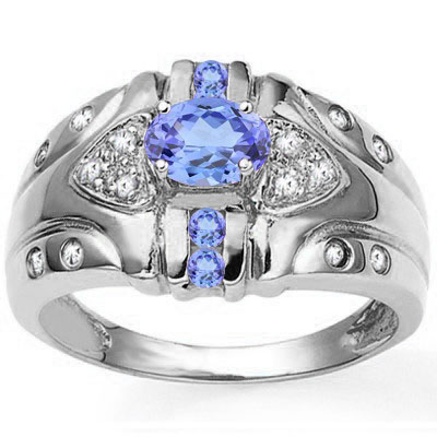 AWESOME 0.56 CARAT GENUINE TANZANITE & GENUINE TANZANITE PLATINUM OVER 0.925 STERLING SILVER RING