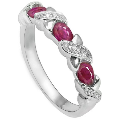 GRACEFUL GENUINE RED RUBY DOUBLE WHITE DIAMOND 0.925 STERLING SILVER W/ PLATINUM RING