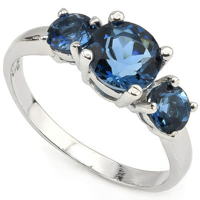 BEAUTIFUL 1.36 CT LONDON BLUE TOPAZ WITH DOUBLE LONDON BLUE TOPAZ 0.925 STERLING SILVER W/ PLATINUM RING
