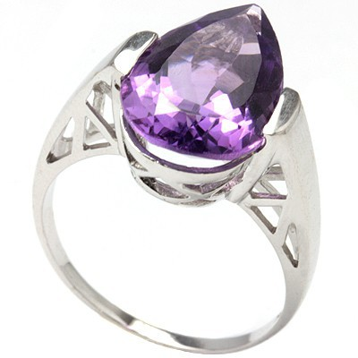 GLAMOROUS 4.88 CT AMETHYST 0.925 STERLING SILVER W/ PLATINUM RING